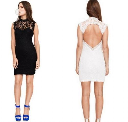 Women Ladies Bodycon Party Midi Dress Lace Backless Sleeveless Black/White